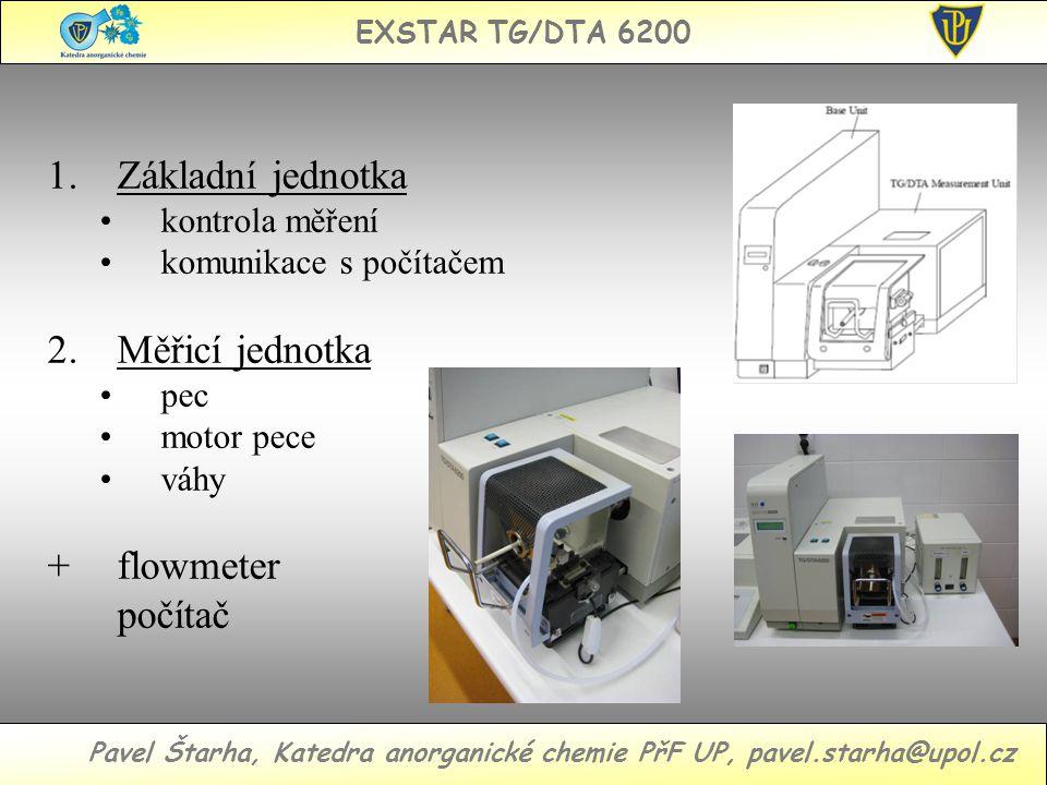 EXSTAR TG/DTA 6200 Pavel Štarha, Katedra anorganické chemie PřF UP, pavel.starha@upol.cz 1.Základní jednotka kontrola měření komunikace s počítačem 2.Měřicí jednotka pec motor pece váhy + flowmeter počítač