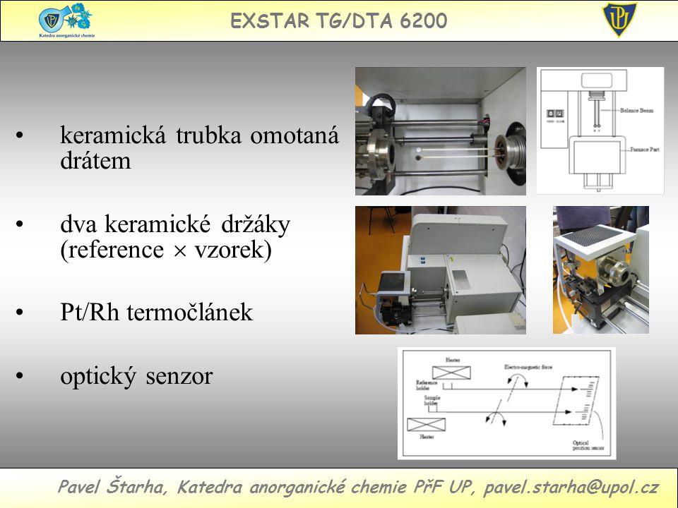 EXSTAR TG/DTA 6200 Pavel Štarha, Katedra anorganické chemie PřF UP, pavel.starha@upol.cz keramická trubka omotaná drátem dva keramické držáky (reference  vzorek) Pt/Rh termočlánek optický senzor