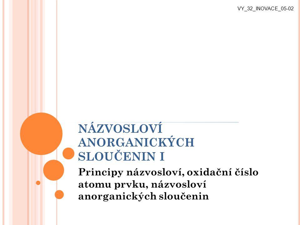 NÁZVOSLOVÍ ANORGANICKÝCH SLOUČENIN I Principy názvosloví, oxidační číslo atomu prvku, názvosloví anorganických sloučenin VY_32_INOVACE_05-02