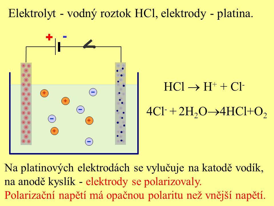 + - + HCl  H + + Cl - Elektrolyt - vodný roztok HCl, elektrody - platina. - + + + - - - Na platinových elektrodách se vylučuje na katodě vodík, na an