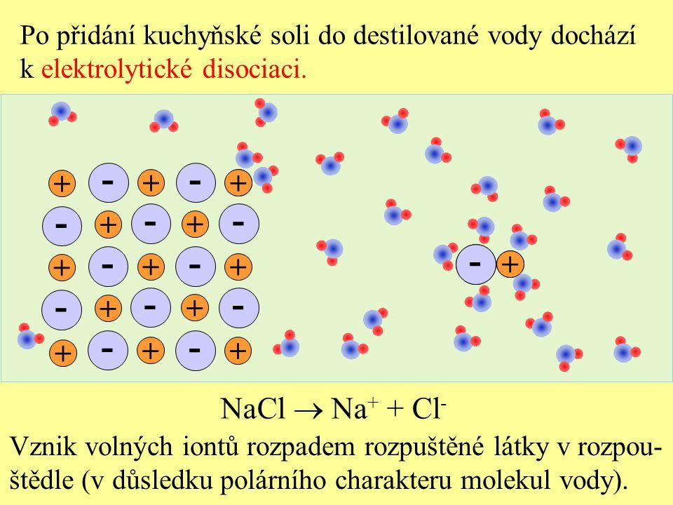 Po přidání kuchyňské soli do destilované vody dochází k elektrolytické disociaci. Vznik volných iontů rozpadem rozpuštěné látky v rozpou- štědle (v dů