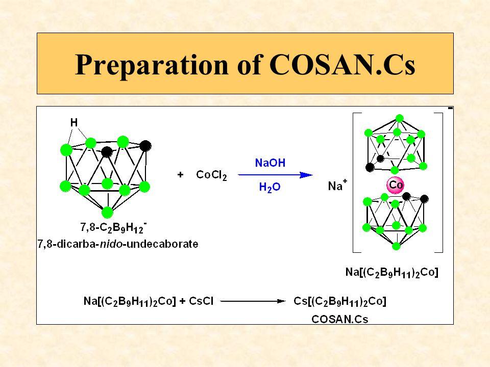 COSAN.Cl 6 Cs CHLOROPROTECTED COSAN [(8,9,12- Cl 3 -1,2-C 2 B 9 H 8 ) 2 Co].Cs Cesium commo-3,3-cobalta-bis(8,9,12 trichloro-1,2-dicarba-closo- dodecaborane)ate(-1) Cs +