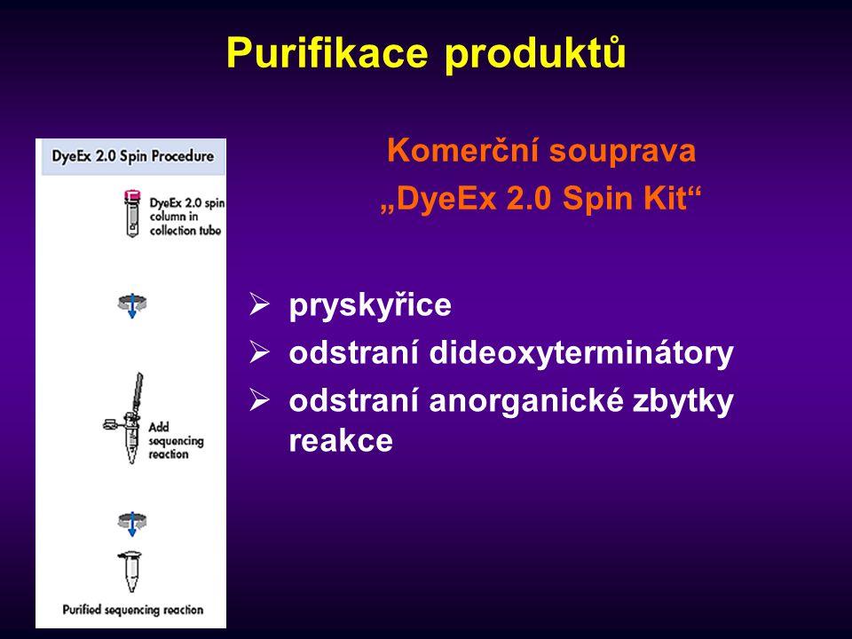 """Purifikace produktů Komerční souprava """"DyeEx 2.0 Spin Kit  pryskyřice  odstraní dideoxyterminátory  odstraní anorganické zbytky reakce"""
