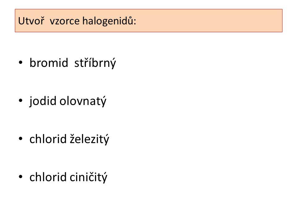 Utvoř vzorce halogenidů: bromid stříbrný jodid olovnatý chlorid železitý chlorid ciničitý