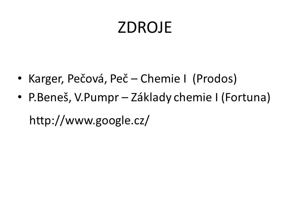 ZDROJE Karger, Pečová, Peč – Chemie I (Prodos) P.Beneš, V.Pumpr – Základy chemie I (Fortuna) http://www.google.cz/