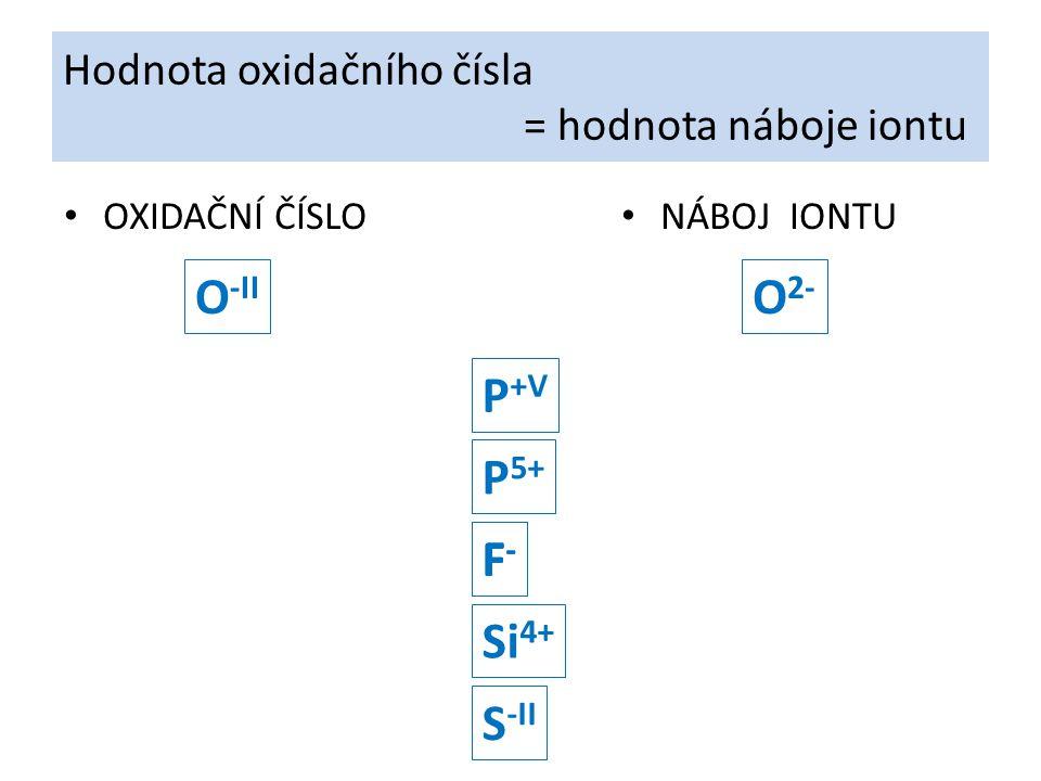 Hodnota oxidačního čísla = hodnota náboje iontu OXIDAČNÍ ČÍSLO NÁBOJ IONTU O -II O 2- P 5+ P +V F-F- Si 4+ S -II F-F-