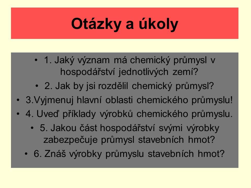 Otázky a úkoly 1. Jaký význam má chemický průmysl v hospodářství jednotlivých zemí? 2. Jak by jsi rozdělil chemický průmysl? 3.Vyjmenuj hlavní oblasti