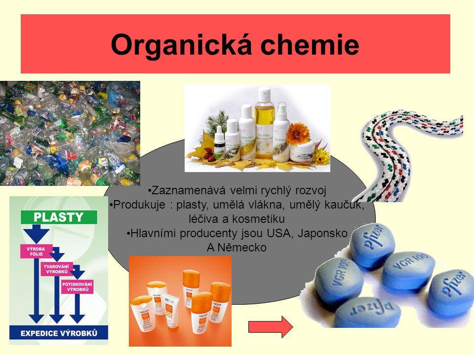 Organická chemie Zaznamenává velmi rychlý rozvoj Produkuje : plasty, umělá vlákna, umělý kaučuk, léčiva a kosmetiku Hlavními producenty jsou USA, Japo