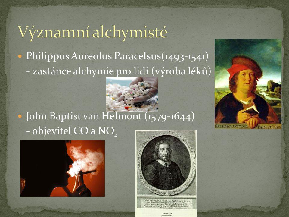 V různých zemích v různých dobách Období předvědecké chemie (do 17.stol.) Cíle alchymie: - zisk nesmrtelnosti - příprava kamene mudrců, elixíru života - příprava zlata - vytvoření živé bytosti