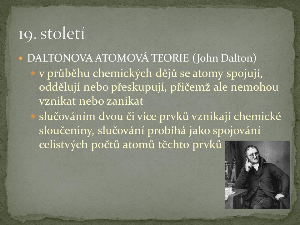 DALTONOVA ATOMOVÁ TEORIE (John Dalton) prvky se skládají z velmi malých dále nedělitelných částic – atomů atomy téhož prvku jsou stejné, atomy různých prvků se liší hmotností, velikostí a dalšími vlastnostmi