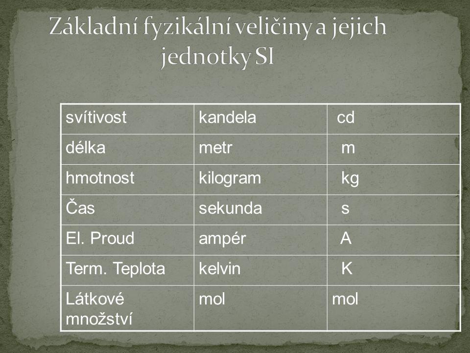 Obsahuje základní jednotky SI a z nich odvozené druhotné veličiny Zásada pro každou veličinu- jen jedna jednotka