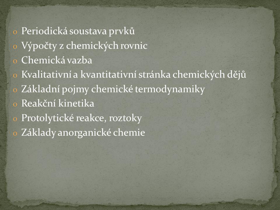 o Úvod základní pojmy chemické názvosloví veličiny o Složení a struktura látek stavba atomu Struktura elektronového obalu