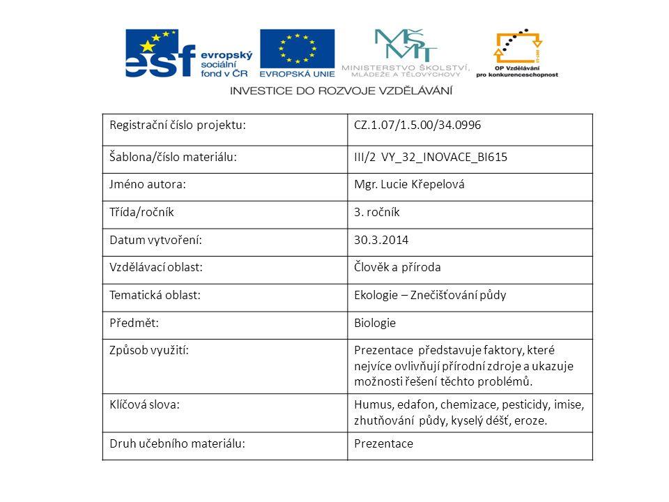Registrační číslo projektu:CZ.1.07/1.5.00/34.0996 Šablona/číslo materiálu:III/2 VY_32_INOVACE_BI615 Jméno autora:Mgr. Lucie Křepelová Třída/ročník3. r
