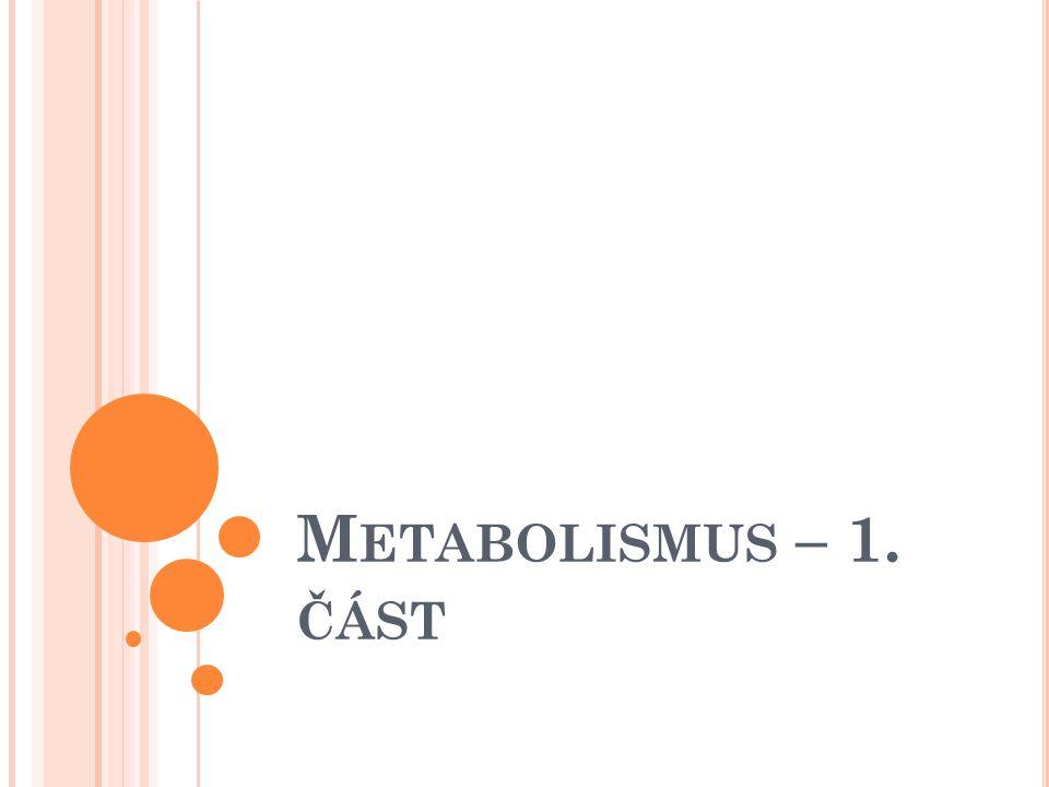 M ETABOLISMUS Soubor organizovaných chemických reakcí a s nimi spojených energetických přeměn, které probíhají uvnitř živých organismů a mezi živými organismy a okolním prostředím Přeměna látková Přeměna energetická Dva typy procesů: Anabolické děje Katabolické děje