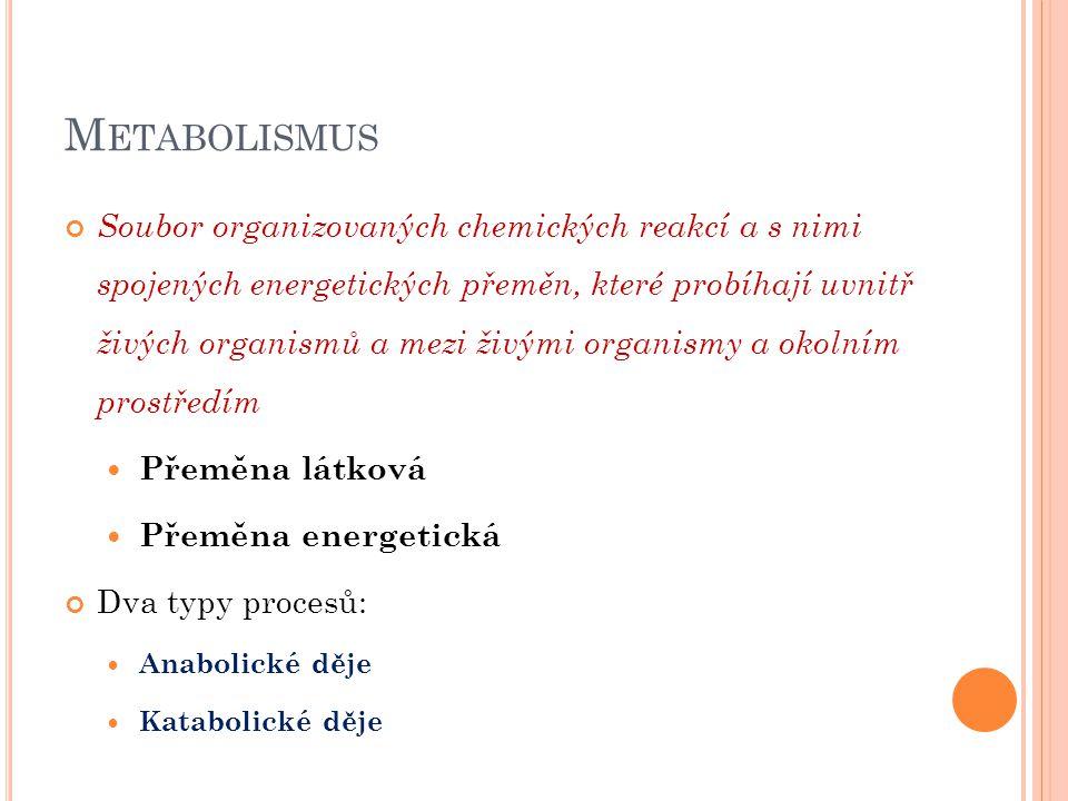 M ETABOLISMUS Soubor organizovaných chemických reakcí a s nimi spojených energetických přeměn, které probíhají uvnitř živých organismů a mezi živými o