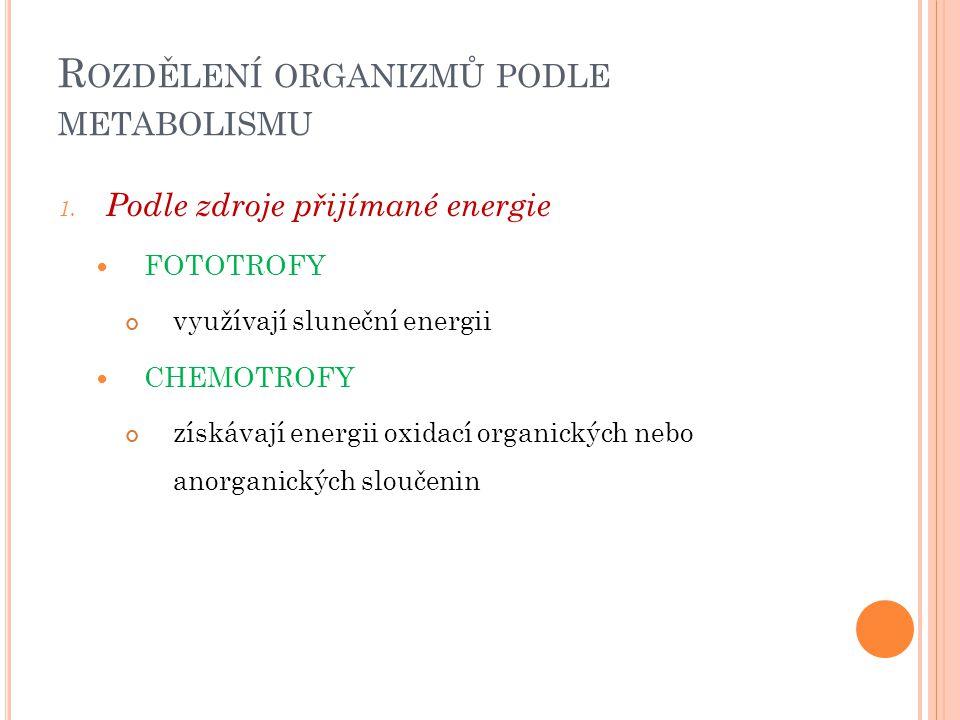 R OZDĚLENÍ ORGANIZMŮ PODLE METABOLISMU 1. Podle zdroje přijímané energie FOTOTROFY využívají sluneční energii CHEMOTROFY získávají energii oxidací org