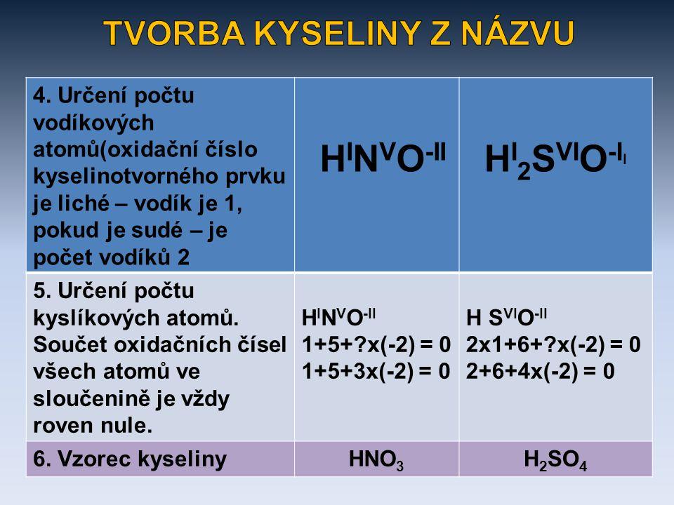 4. Určení počtu vodíkových atomů(oxidační číslo kyselinotvorného prvku je liché – vodík je 1, pokud je sudé – je počet vodíků 2 H I N V O -II H I 2 S