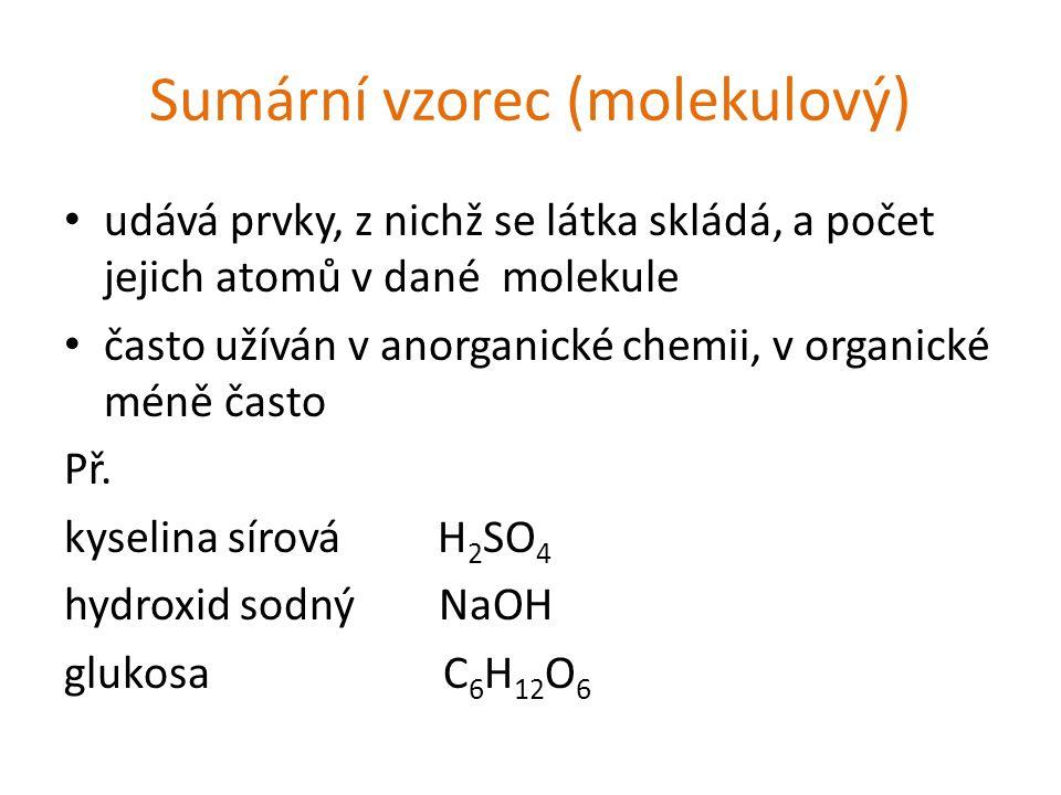 Sumární vzorec (molekulový) udává prvky, z nichž se látka skládá, a počet jejich atomů v dané molekule často užíván v anorganické chemii, v organické