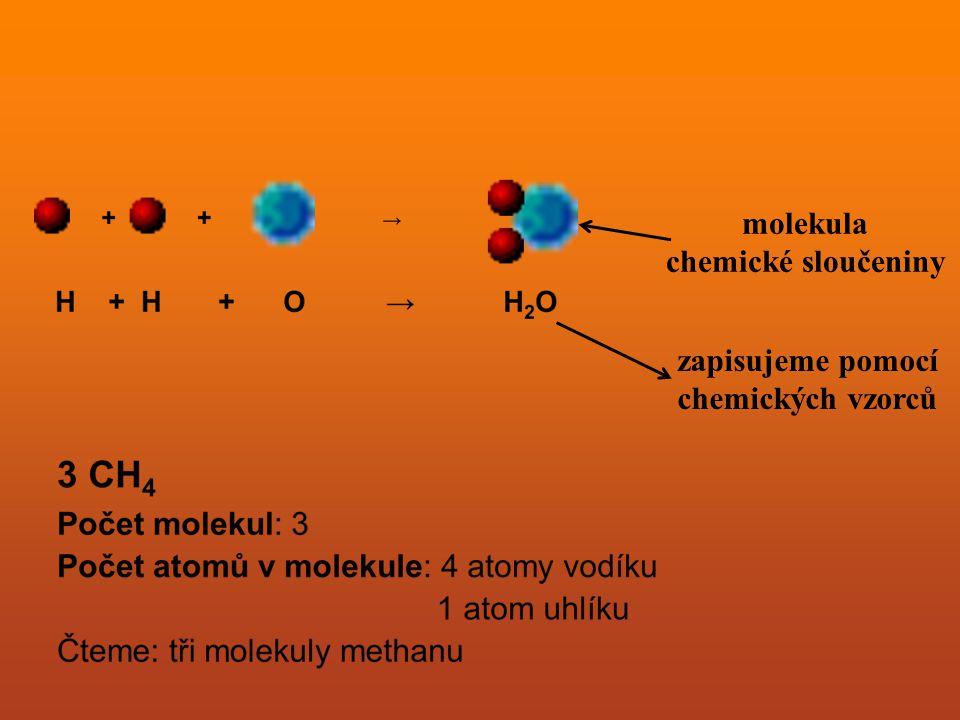 molekula chemické sloučeniny zapisujeme pomocí chemických vzorců