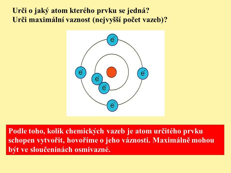 Urči o jaký atom kterého prvku se jedná. Urči maximální vaznost (nejvyšší počet vazeb).