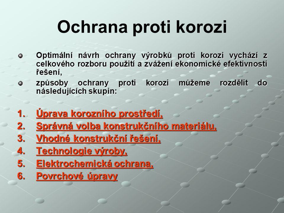 Optimální návrh ochrany výrobků proti korozi vychází z celkového rozboru použití a zvážení ekonomické efektivnosti řešení, způsoby ochrany proti koroz