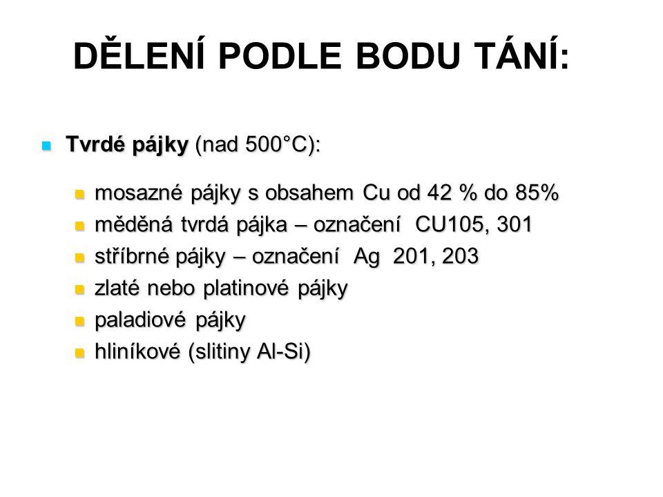 DĚLENÍ PODLE BODU TÁNÍ: Tvrdé pájky (nad 500°C): Tvrdé pájky (nad 500°C): mosazné pájky s obsahem Cu od 42 % do 85% mosazné pájky s obsahem Cu od 42 %