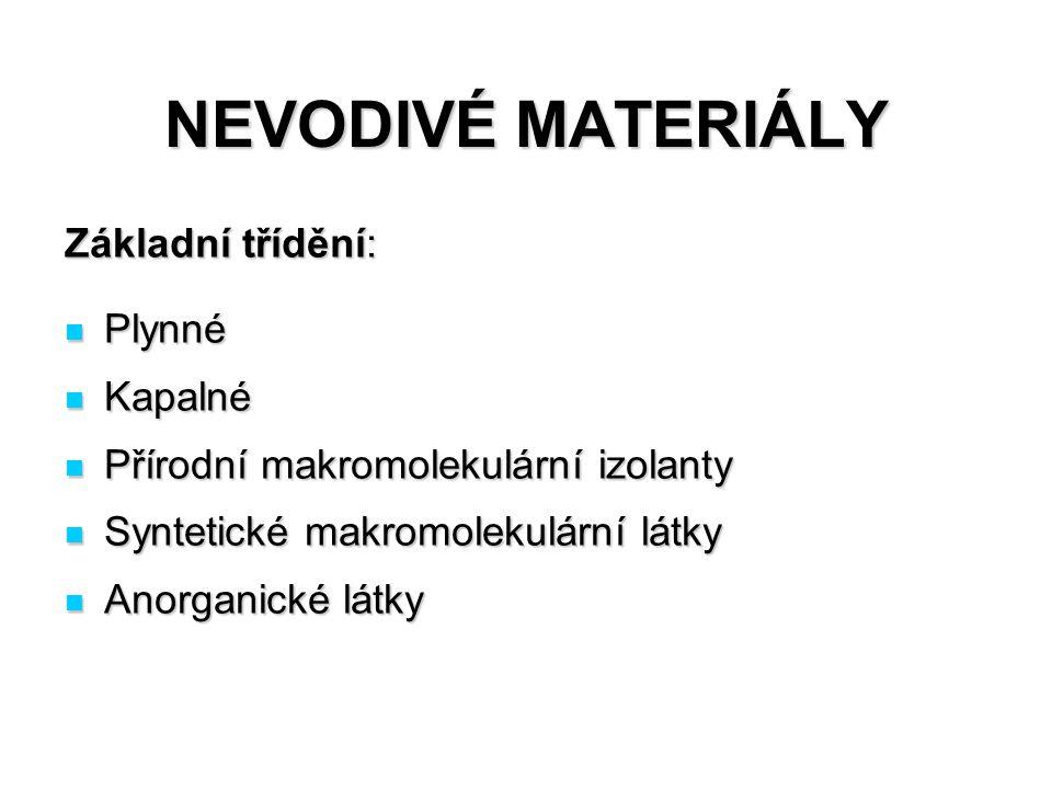 NEVODIVÉ MATERIÁLY Základní třídění: Plynné Plynné Kapalné Kapalné Přírodní makromolekulární izolanty Přírodní makromolekulární izolanty Syntetické ma
