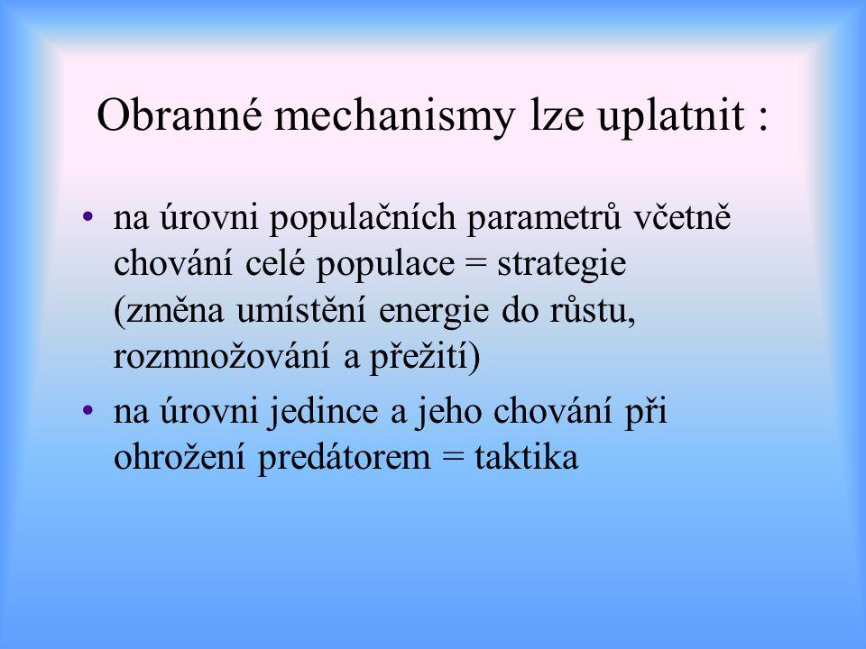 Obranné mechanismy lze uplatnit : na úrovni populačních parametrů včetně chování celé populace = strategie (změna umístění energie do růstu, rozmnožov