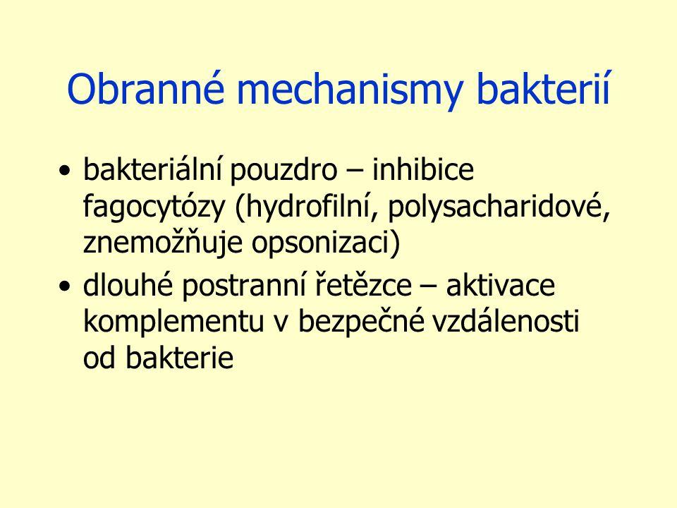 Obranné mechanismy bakterií bakteriální pouzdro – inhibice fagocytózy (hydrofilní, polysacharidové, znemožňuje opsonizaci) dlouhé postranní řetězce – aktivace komplementu v bezpečné vzdálenosti od bakterie