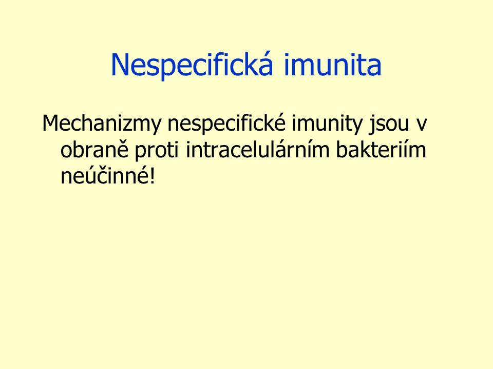 Nespecifická imunita Mechanizmy nespecifické imunity jsou v obraně proti intracelulárním bakteriím neúčinné!