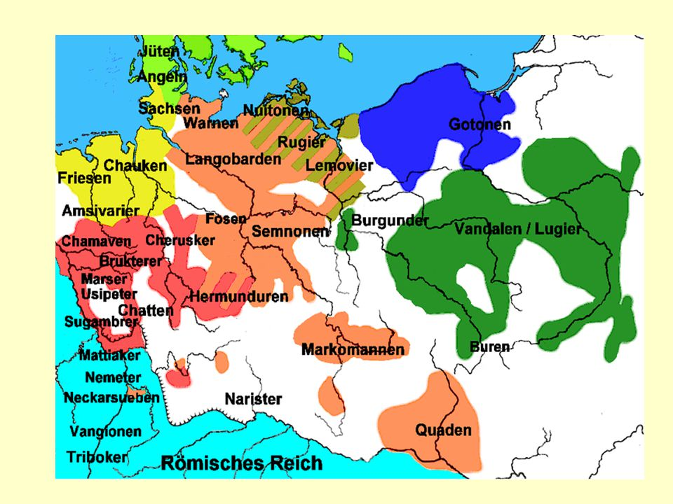 """Markomani """"Marobudova říše""""- jádro střední Čechy, počátek letopočtu Marobud – """"král"""" vytvořil kmenový svaz- vytlačen svými odpůrci, jinými germánskými"""
