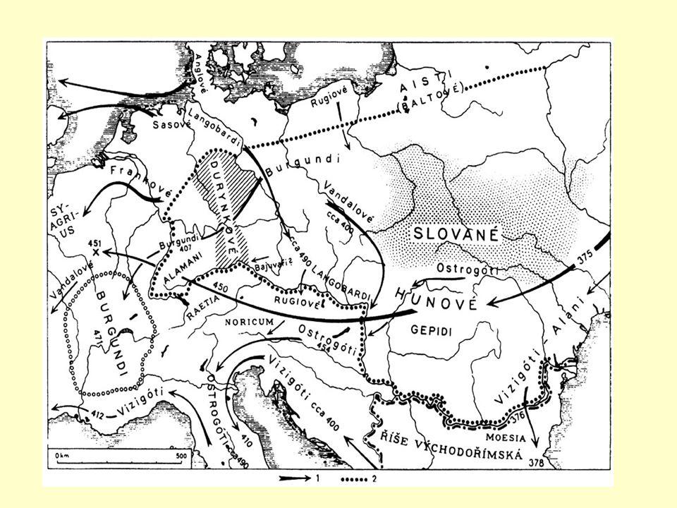 Slované Z pravlasti mezi Vislou a Dněprem přišli a usadili se v Čechách v 5. – 6. století Skončilo období jazykové jednoty- vznikly tři větve Slovanů