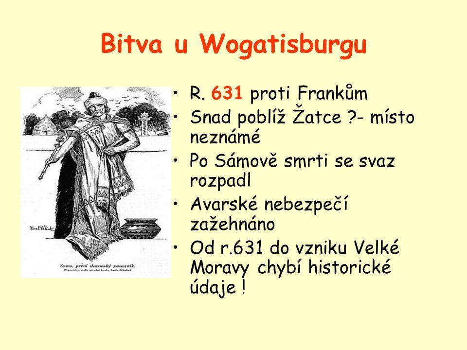 Sámova říše Centrum: snad Morava Doba: asi polovina 7. stol. Sámo- francký kupec Vytvořil nadkmenový svaz Úspěšně bojoval proti Avarům …a Frankům-