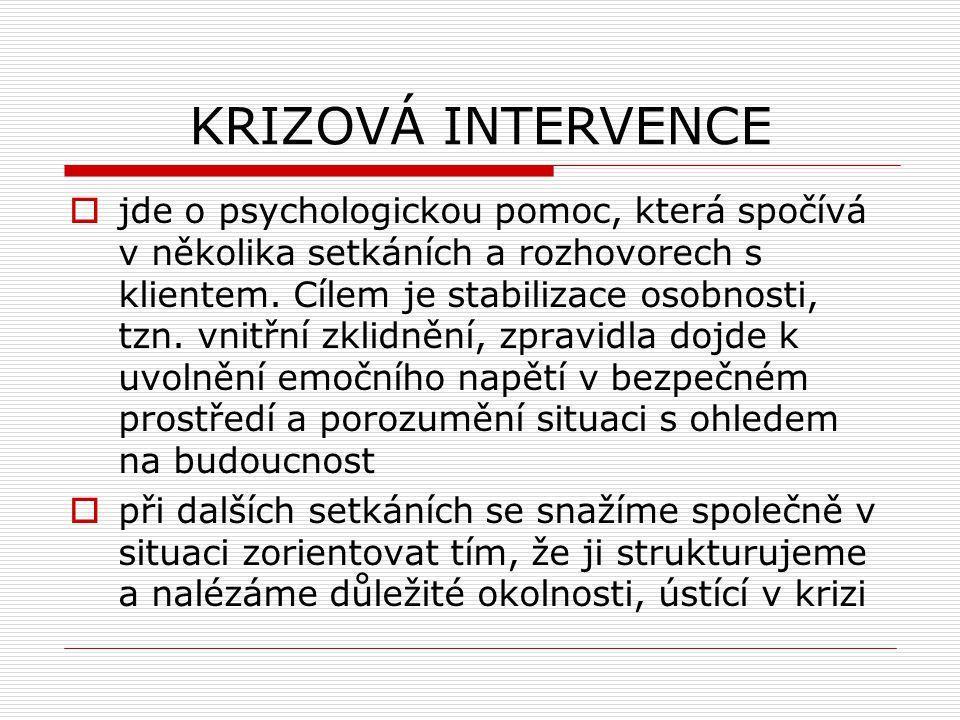 KRIZOVÁ INTERVENCE  jde o psychologickou pomoc, která spočívá v několika setkáních a rozhovorech s klientem. Cílem je stabilizace osobnosti, tzn. vni