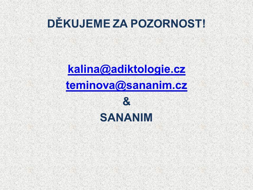 DĚKUJEME ZA POZORNOST! kalina@adiktologie.cz teminova@sananim.cz & SANANIM