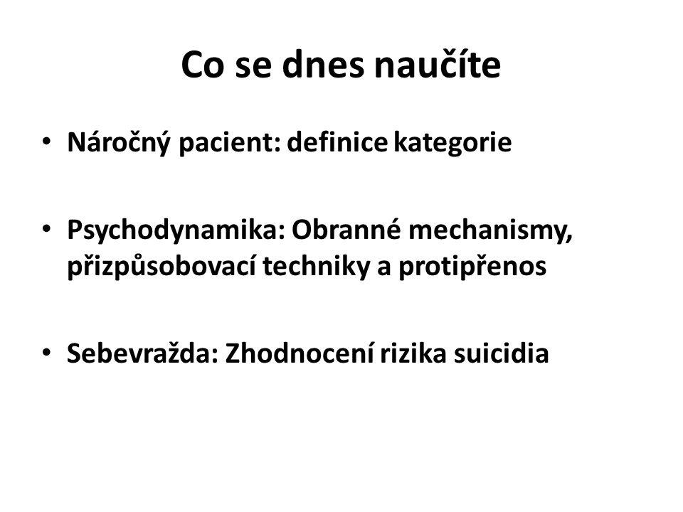 Co se dnes naučíte Náročný pacient: definice kategorie Psychodynamika: Obranné mechanismy, přizpůsobovací techniky a protipřenos Sebevražda: Zhodnocení rizika suicidia