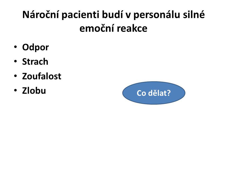 Nároční pacienti budí v personálu silné emoční reakce Odpor Strach Zoufalost Zlobu Co dělat?