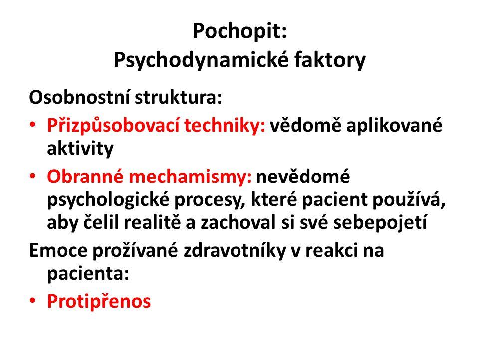Pochopit: Psychodynamické faktory Osobnostní struktura: Přizpůsobovací techniky: vědomě aplikované aktivity Obranné mechamismy: nevědomé psychologické procesy, které pacient používá, aby čelil realitě a zachoval si své sebepojetí Emoce prožívané zdravotníky v reakci na pacienta: Protipřenos