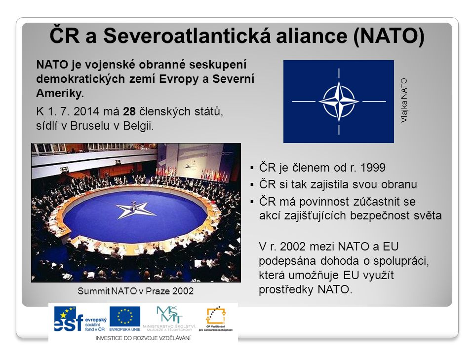 Členství v organizacích státy v NATO a EU státy pouze v EU státy pouze v NATO