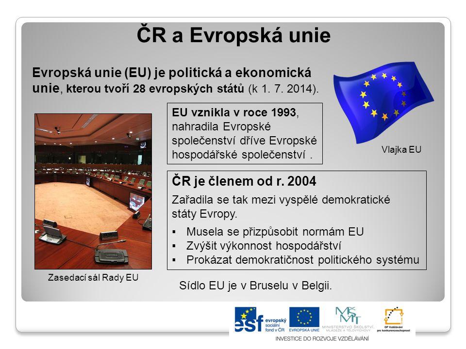 Výhody členství ČR v EU Podíl na rozhodování a tvorbě právních předpisů EU Volný přístup na evropský trh Větší zapojení do světové ekonomiky Příspěvek z finančního rozpočtu EU ČR má zástupce ve všech orgánech EU Čeština patří k jednacím jazykům EU Posílení politické a hospodářské stability ČR