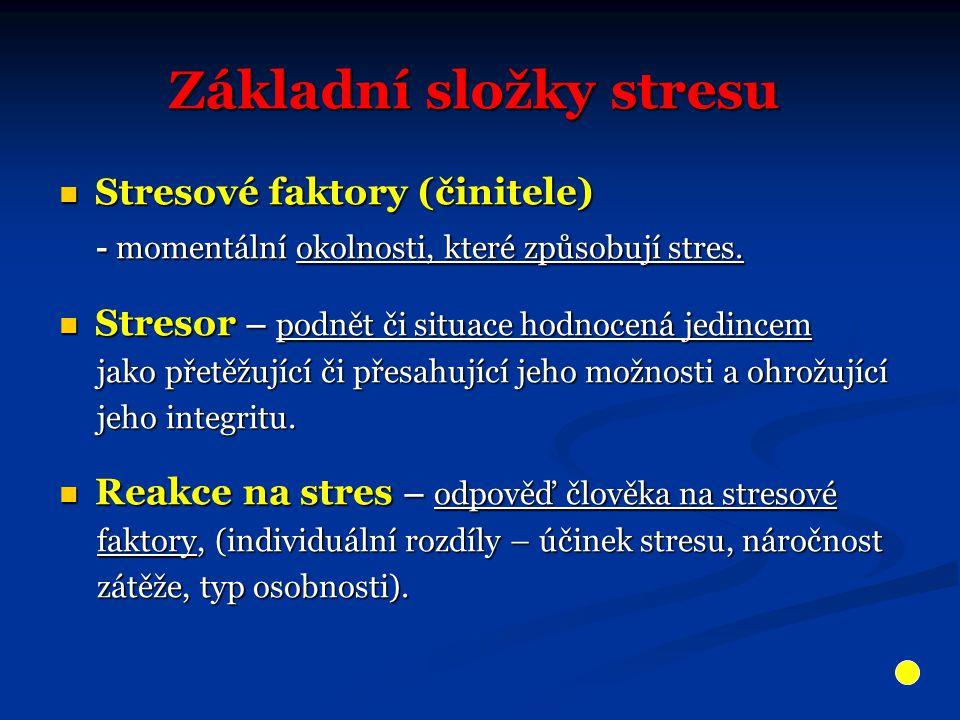 Základní složky stresu Stresové faktory (činitele) Stresové faktory (činitele) - momentální okolnosti, které způsobují stres.