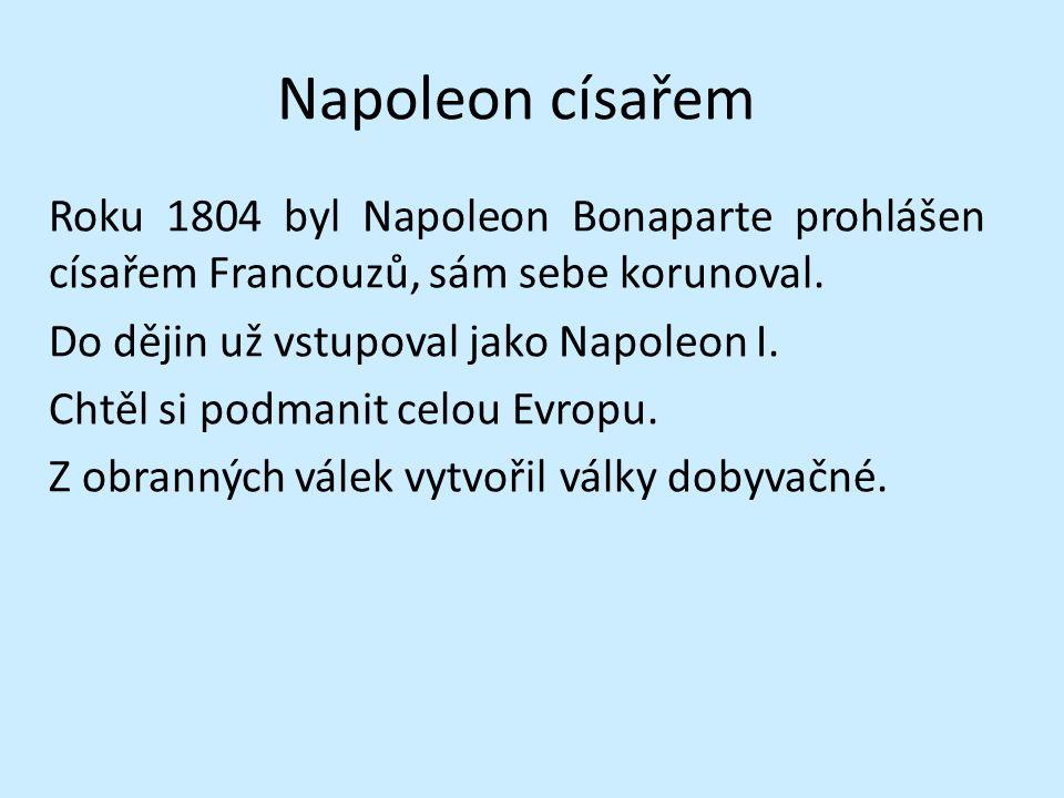 Napoleon císařem Roku 1804 byl Napoleon Bonaparte prohlášen císařem Francouzů, sám sebe korunoval. Do dějin už vstupoval jako Napoleon I. Chtěl si pod