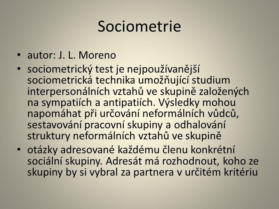 Sociometrie autor: J. L. Moreno sociometrický test je nejpoužívanější sociometrická technika umožňující studium interpersonálních vztahů ve skupině za