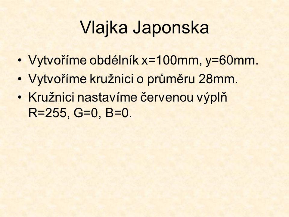 Vlajka Japonska Vytvoříme obdélník x=100mm, y=60mm.