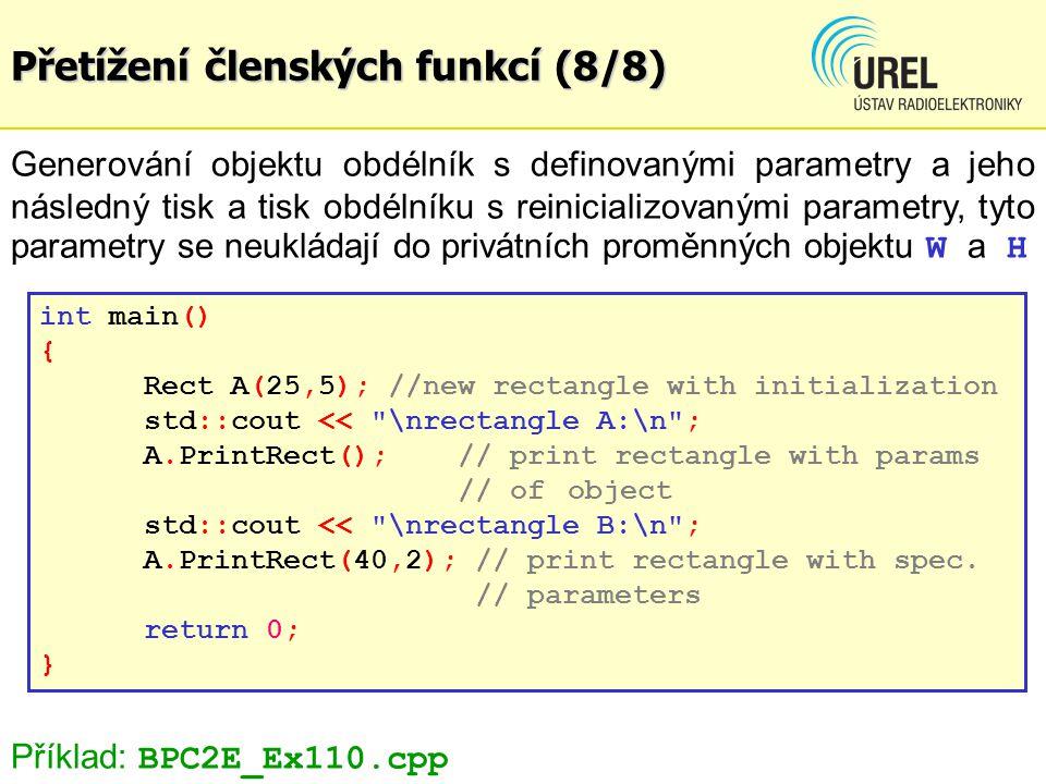Dědičnost tříd (1/10) Dědičnost tříd: - je vlastnost OOP, která umožňuje vytvářet nové objekty na základě již vytvořených objektů s využitím dědění jak proměnných tak i metod původní třídy, nová metoda se označuje jako odvozená třída syntaxe: class derived_class:acces_type basic_class {declaration} Např.