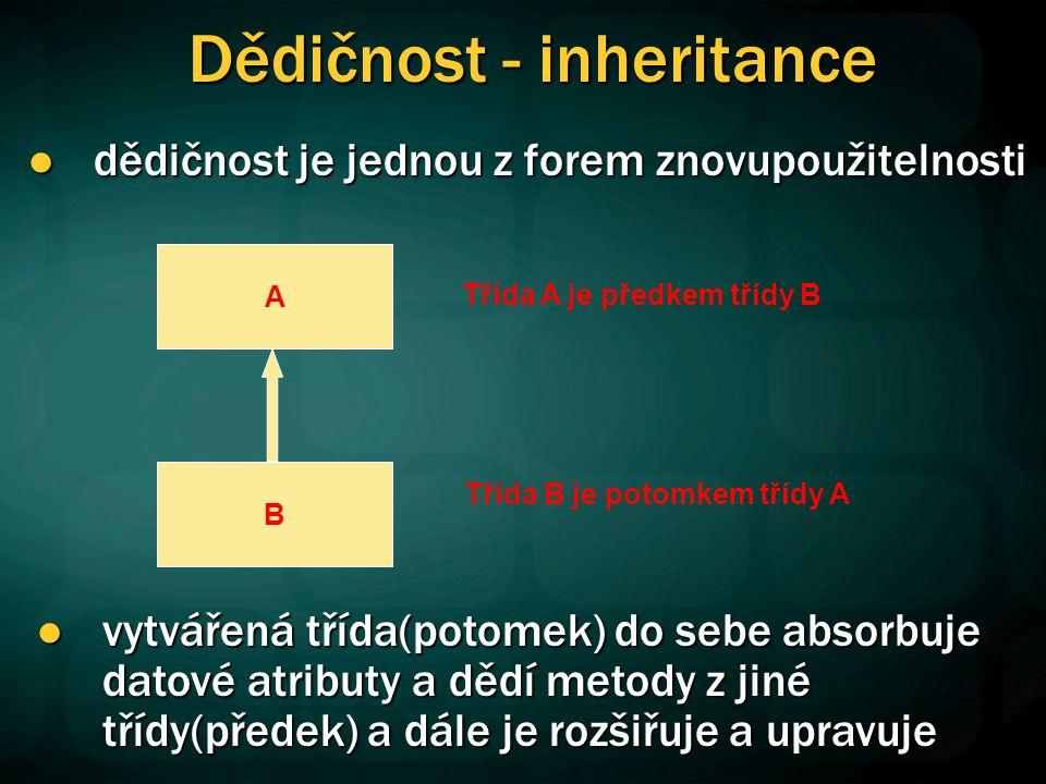 Dědičnost - inheritance dědičnost je jednou z forem znovupoužitelnosti dědičnost je jednou z forem znovupoužitelnosti B A Třída A je předkem třídy B Třída B je potomkem třídy A vytvářená třída(potomek) do sebe absorbuje datové atributy a dědí metody z jiné třídy(předek) a dále je rozšiřuje a upravuje vytvářená třída(potomek) do sebe absorbuje datové atributy a dědí metody z jiné třídy(předek) a dále je rozšiřuje a upravuje