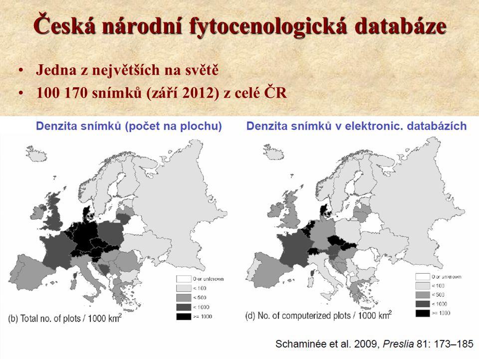 Česká národní fytocenologická databáze Jedna z největších na světě 100 170 snímků (září 2012) z celé ČR