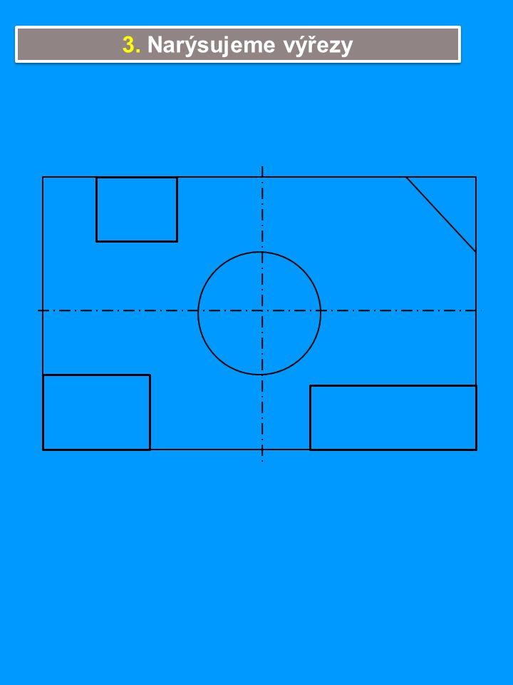 4. Na nárysu narýsujeme zaoblení (R20mm), na půdorysu hrany (viditelné, neviditelné).