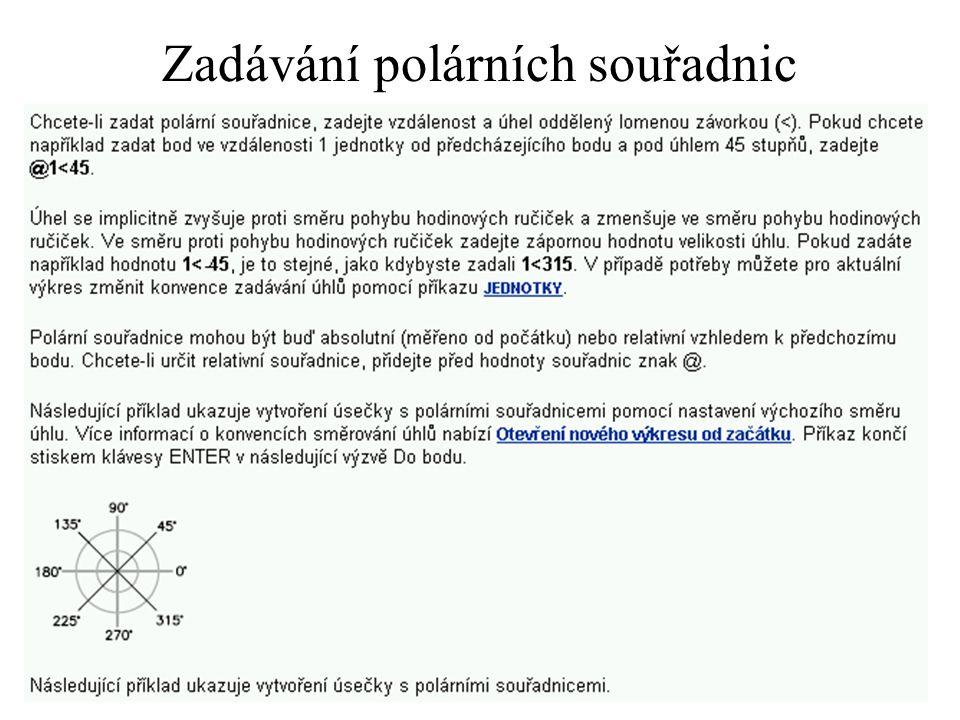 Zadávání polárních souřadnic