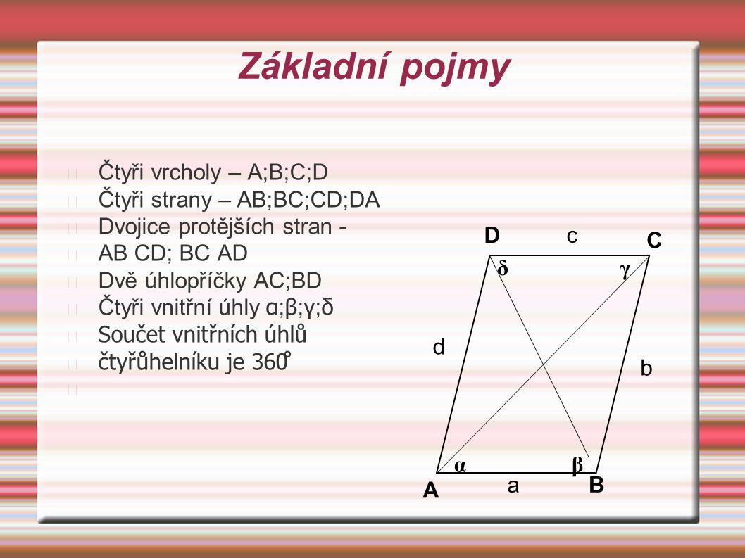 Čtyři vrcholy – A;B;C;D Čtyři strany – AB;BC;CD;DA Dvojice protějších stran - AB CD; BC AD Dvě úhlopříčky AC;BD Čtyři vnitřní úhly α ; β ; γ ; δ Souče